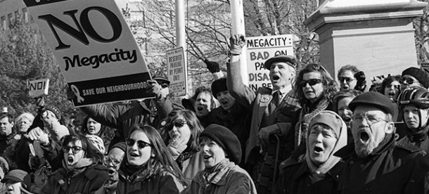 No Mega city demonstration at Queen's Park.