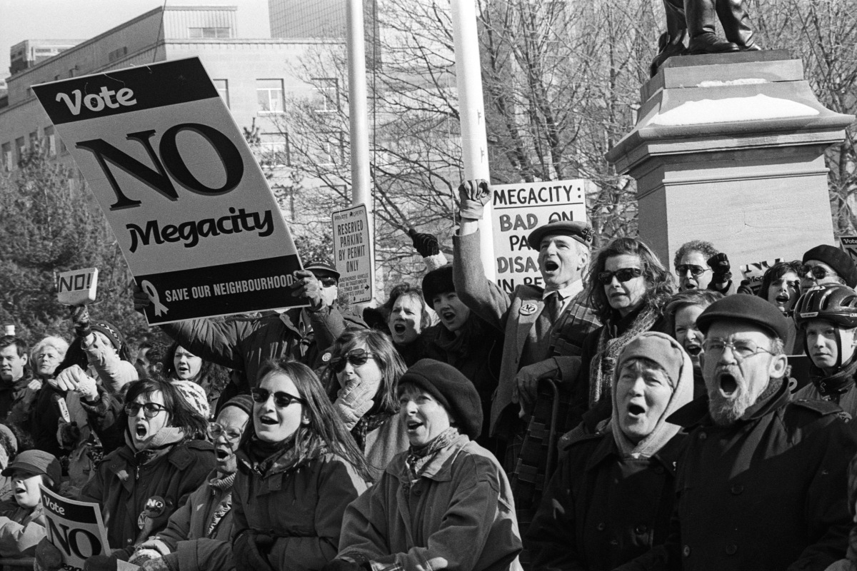 Demonstration against the megacity at Queen's Park.
