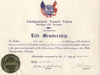 Union membership certificate.