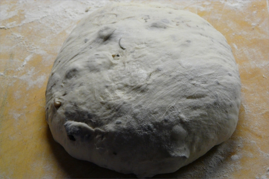 Olive bread dough rising.