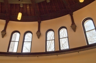 U of T reading room windows.