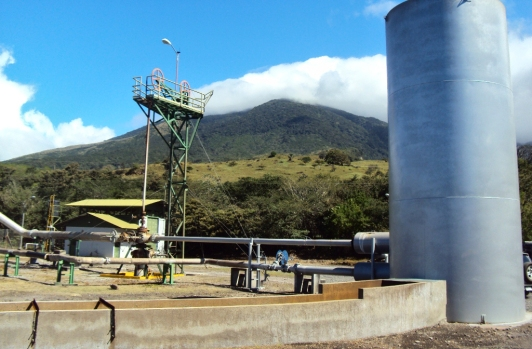 Geothermal station near volcano in Costa Rica.