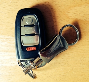 Car key with panic button.