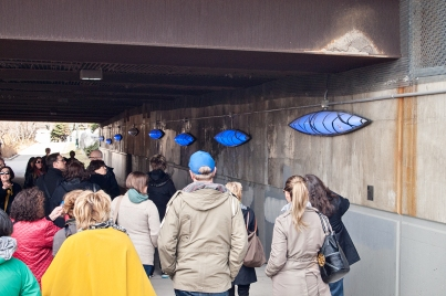 Light Canoe installation in Spadina underpass.