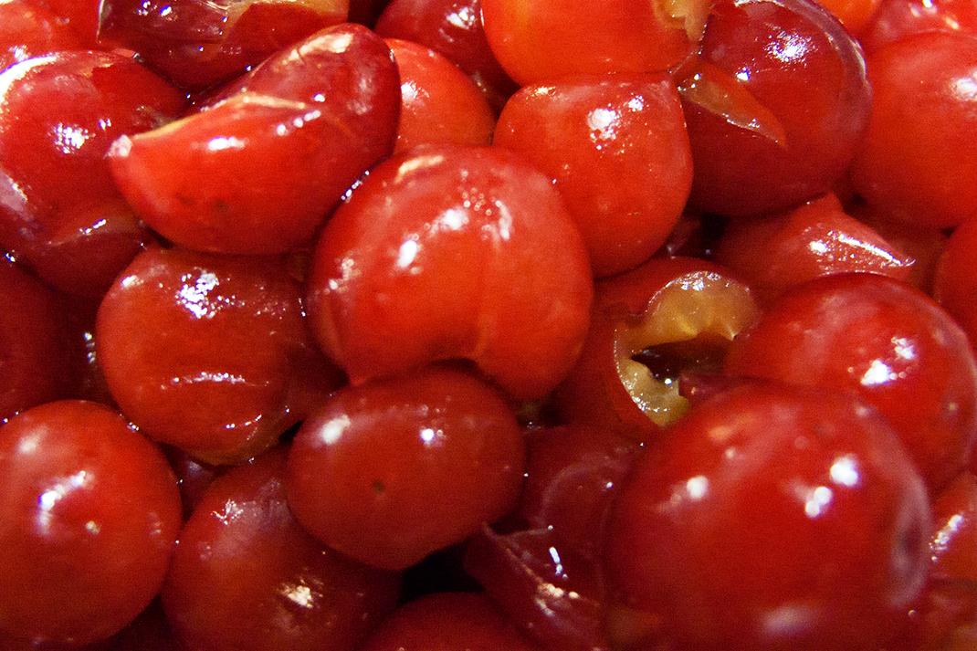Cherries close up.