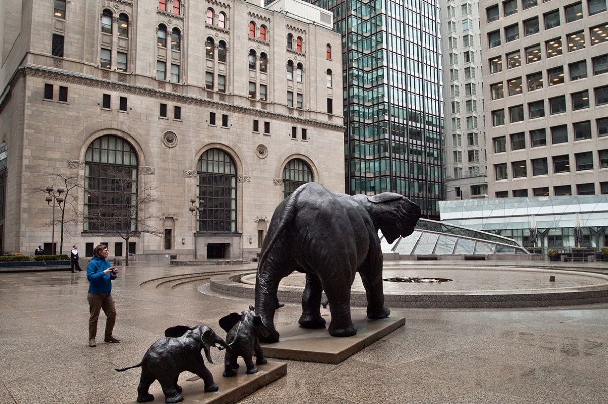 Commerce Court elephant sculptures.