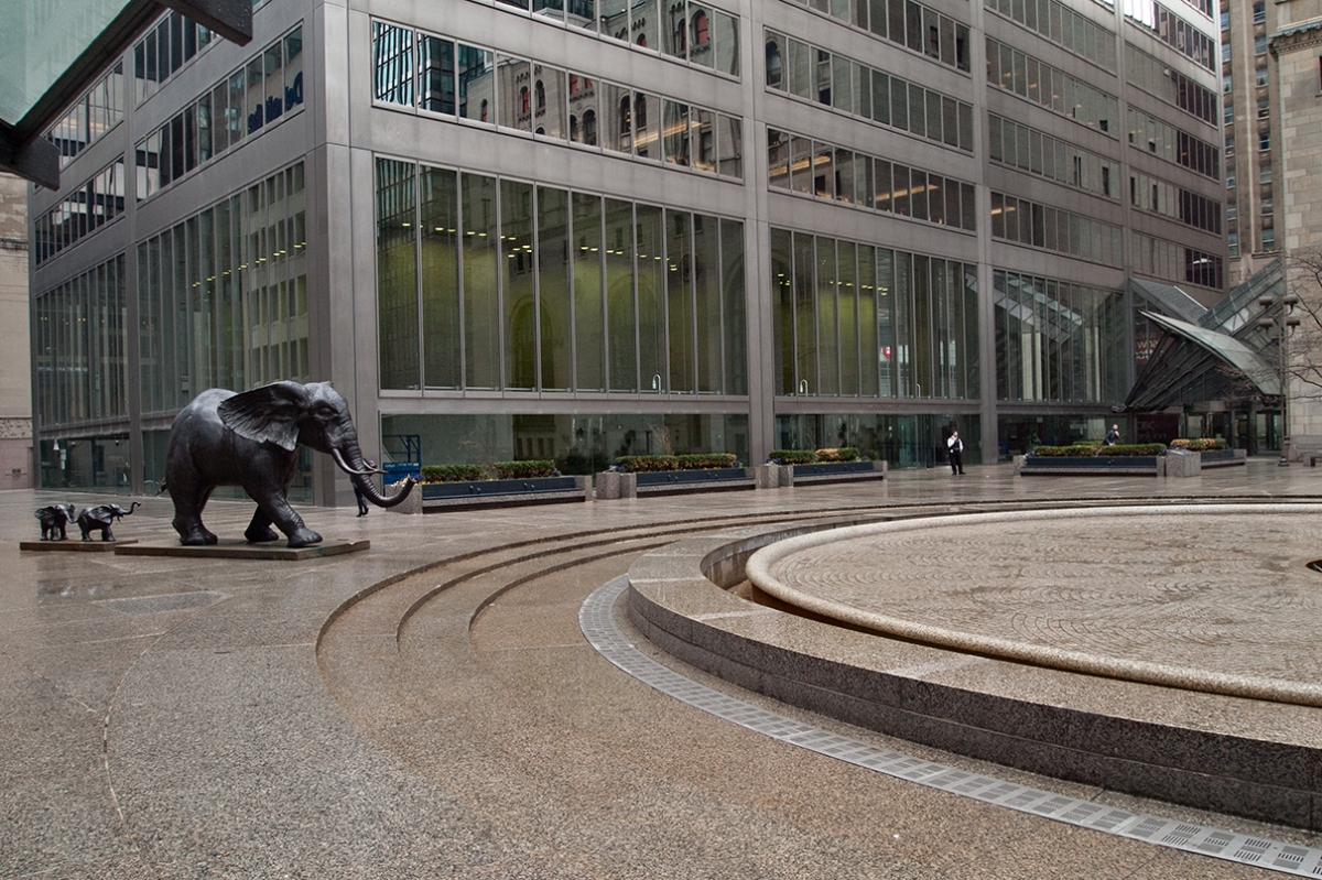 Commerce Court elephants from rear.