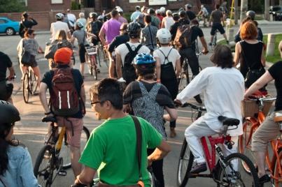 Bike tour on the street.
