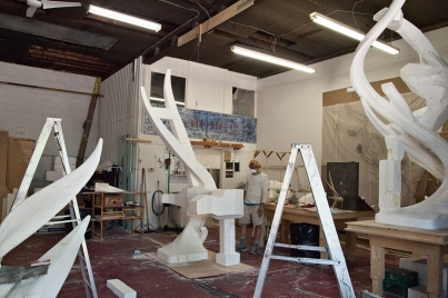 Sculptor in studio.
