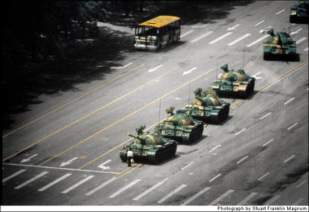 Tank man of Tianamen Square.