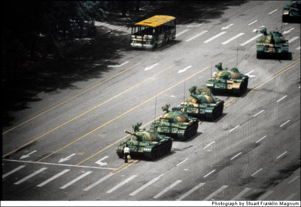 Tank man of Tianamen Square.