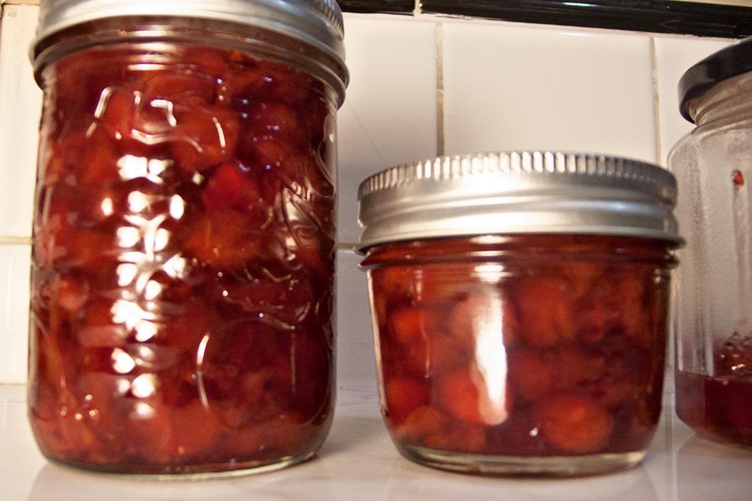 Jars of cheery jam.
