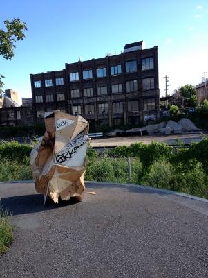Upright sculpture on Rail Path.