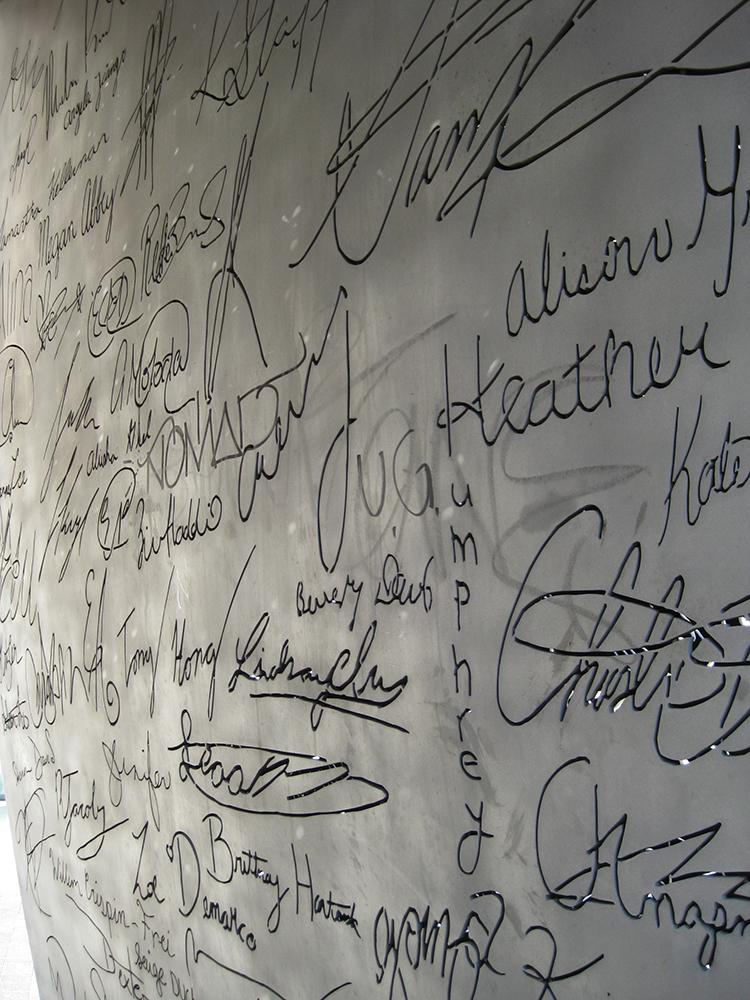 Written names on sculpture.
