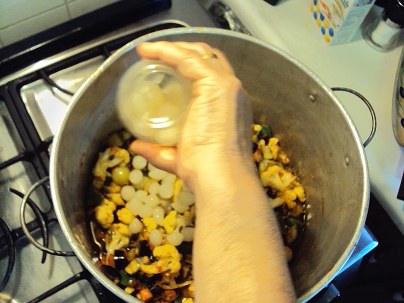 Adding bottled onions.