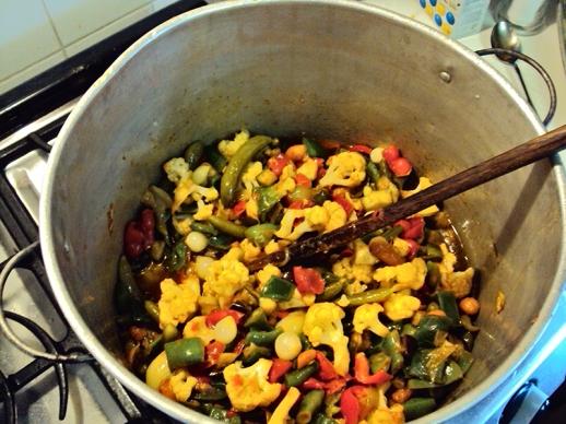 Stirring vegetables.