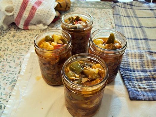 Open filled jars.