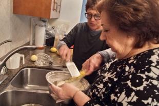 Adding lemon zest.
