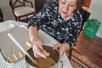 Retrieving dough for a cookie.