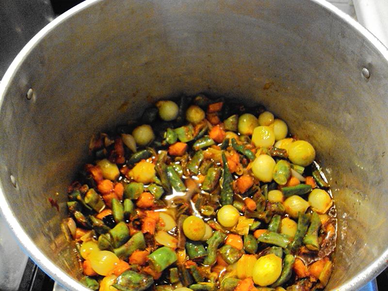Vegetables in pot.