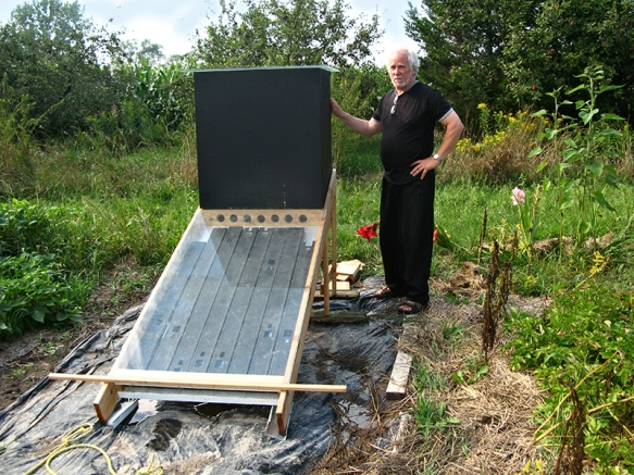 Bengt with solar dehydrator.