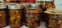 Jars of giardiniera.