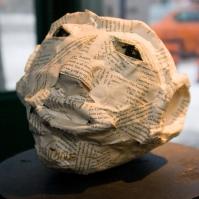 Papier mache head.
