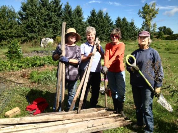 Work group in garden.