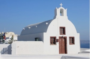 small barrel vault church in Oia, Santoroni, Greece-