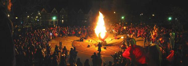 Winter solstice bonfire.
