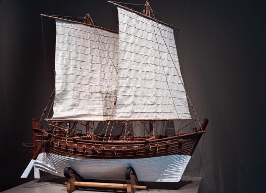 Model of dhow at Aga Kahn museum.