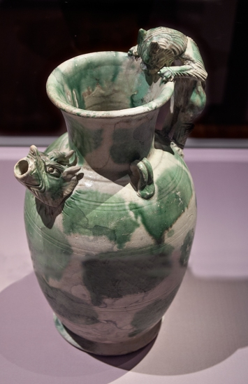 Green and white ewer.