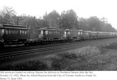 Old streetcars shipped north by rail.