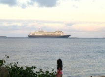 Cruiseship seen from our house.