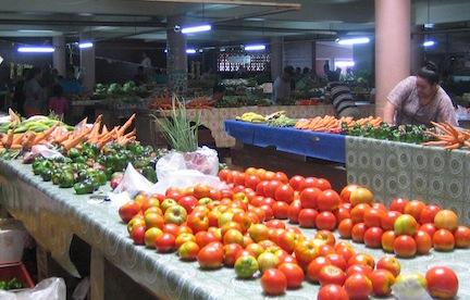 Vegetables at Tonganese market.
