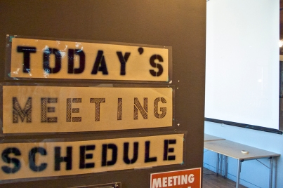 Meeting room sign.