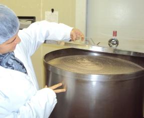 Hummus being made at Sunflower Kitchen.