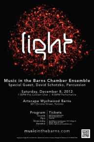 Light concert program, Music in the Barns.