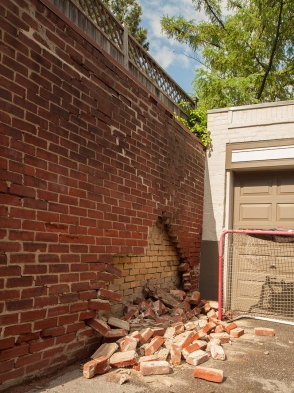 Brick wall collapsed.