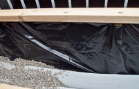 Waterproof lining of planter box.