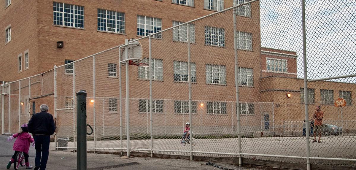 Bikes in Oakwood tennis court.