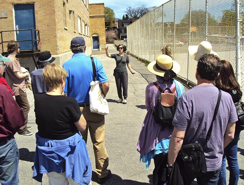 Bravo leads walk around Oakwood CI.