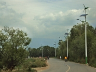 Chinese streetlight with solar panels.