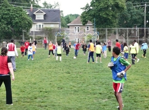 Pick-up soccer game at Oakwood Collegiate.