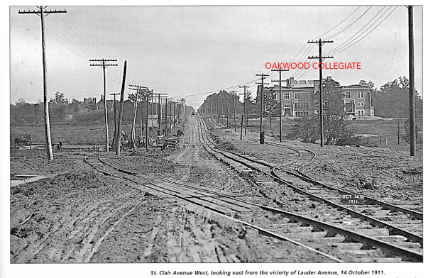 Oakwood Collegiate and streetcar track construction.