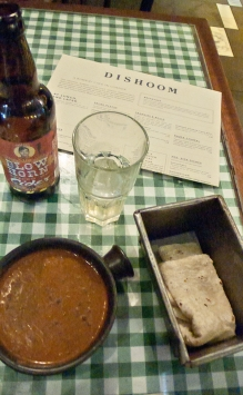 Black daal, roti and cider