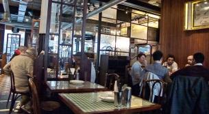 men at tables