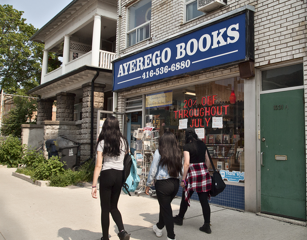 Passing the bookstore on St. Clair W.