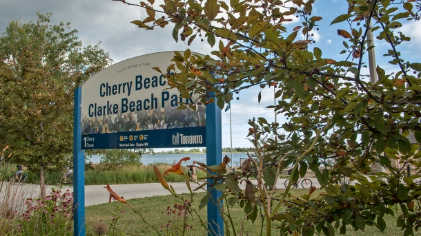 Cherry Beach sign.