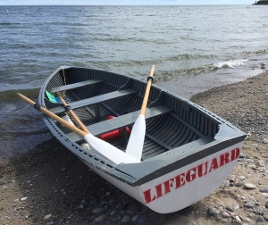 Lifeguard rowboat.